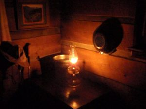 Kerosene lamps provide lighting at Mt. LeConte Lodge