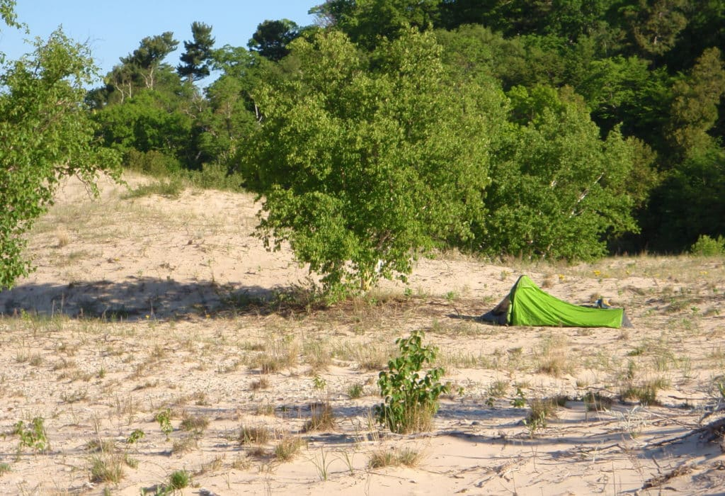 Camping on North Manitou Island near Donner's Point